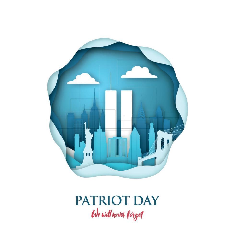 Carte d'art papier 911 patriot day avec tours jumelles à new york skyline. centre du commerce mondial. bannière de jour patriote usa. 11 septembre 2001. n'oubliez jamais. vecteur