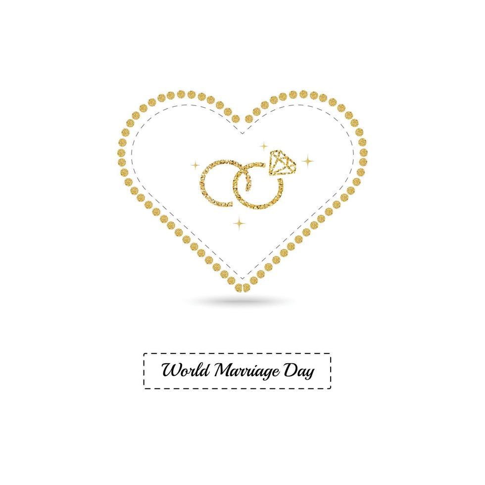 carte de la journée mondiale du mariage avec cadre en or scintillant et bague de mariage vecteur