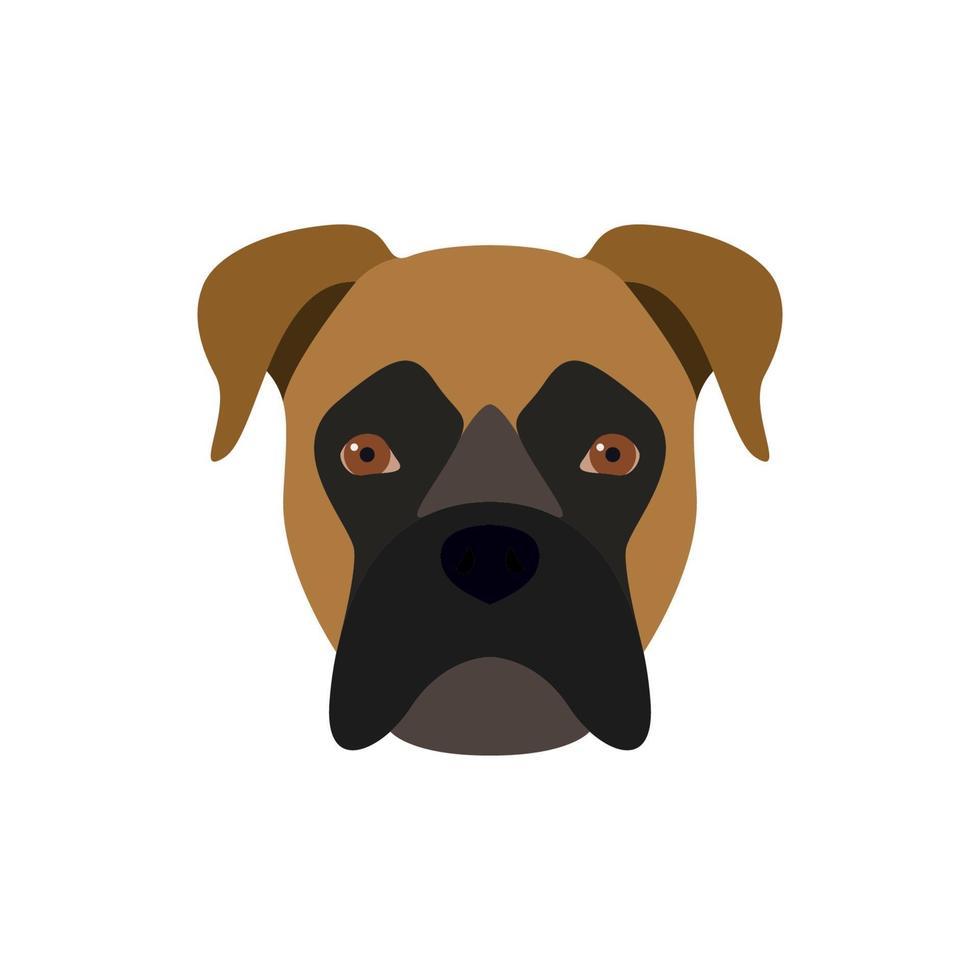 le boxeur est un chien. image vectorielle de la tête d'un chien. vecteur