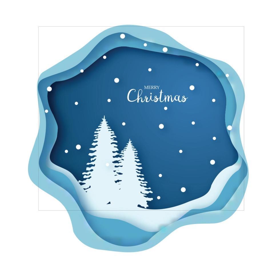 forêt d'arbres de Noël enneigée origami joyeux Noel et bonne année. style d'art de papier. carte de voeux. vecteur
