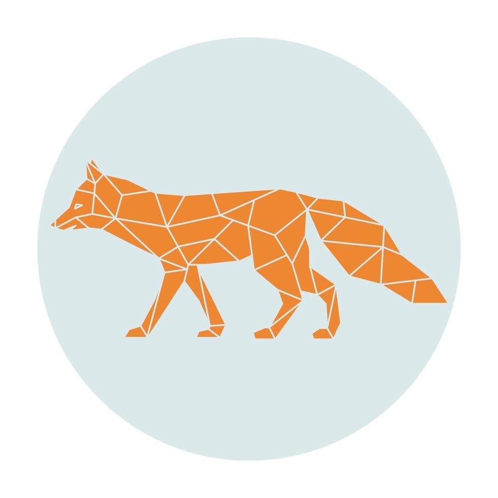 silhouette polygonale d'un renard orange. vue de côté. vecteur