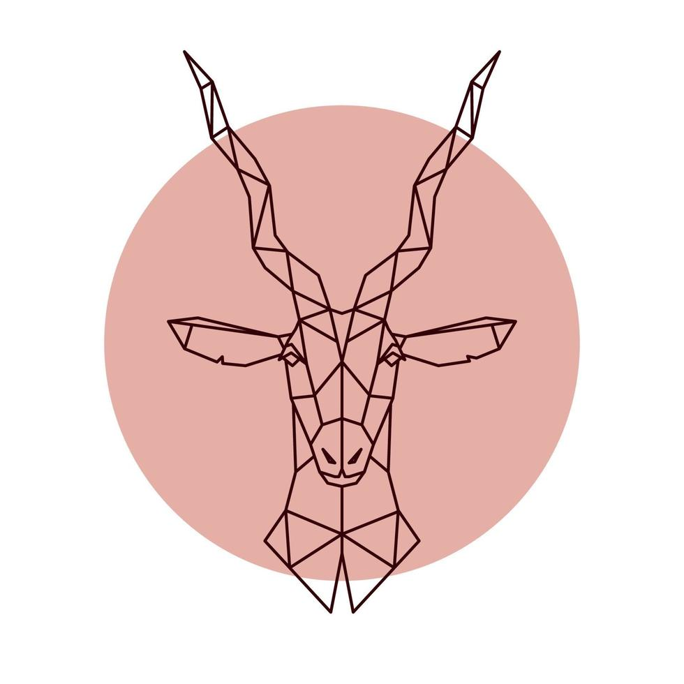 tête géométrique de l'antilope. illustration vectorielle d'un animal sauvage. vecteur