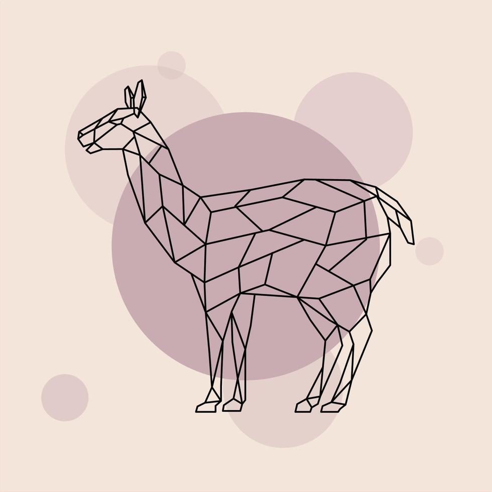 vue de côté de lama. style géométrique. animal sauvage. vecteur