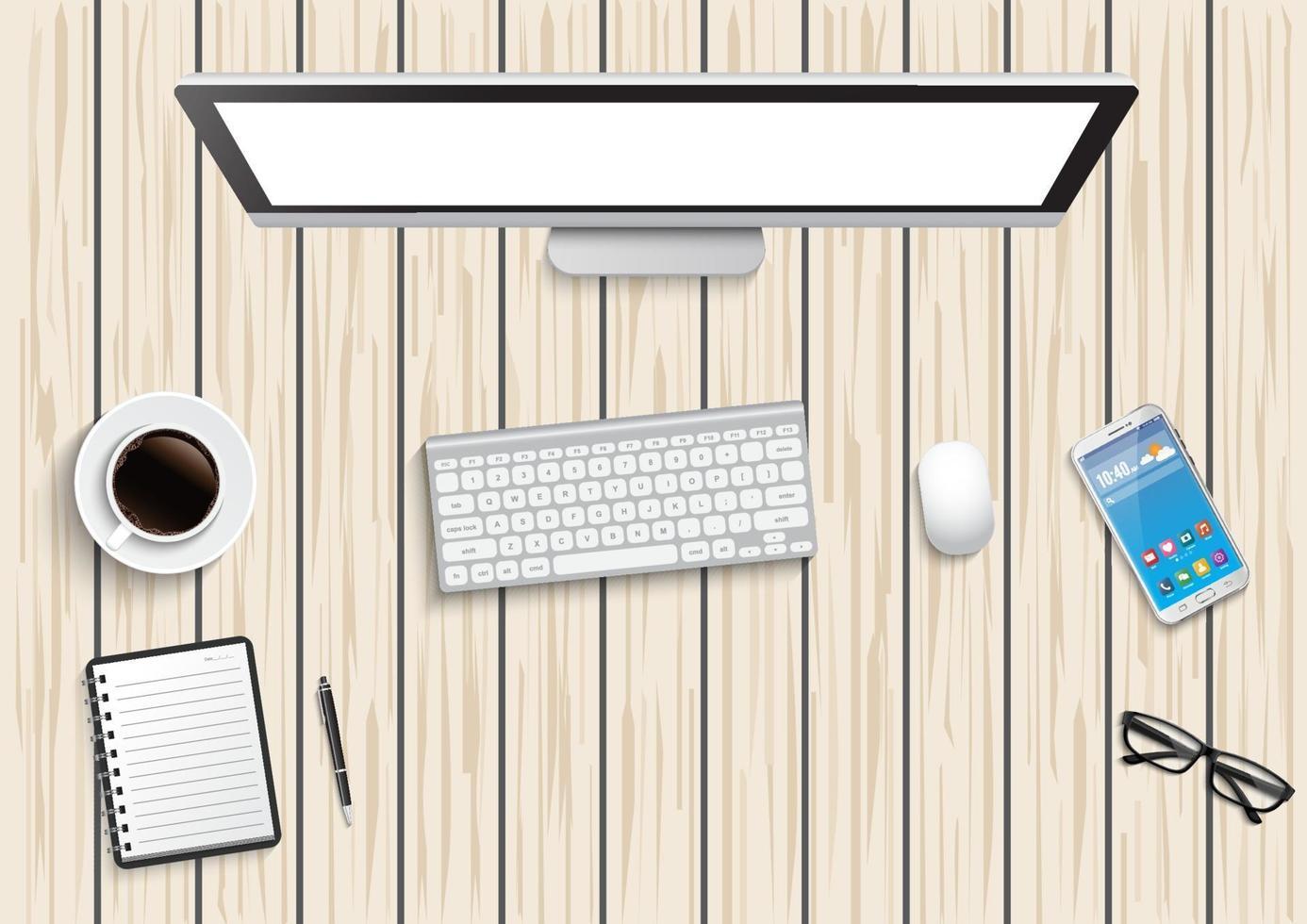 bureau de travail réaliste. table de bureau vue de dessus. ordinateur personnel avec clavier, smartphone, lunettes, note ouverte sur un bureau en bois. vecteur
