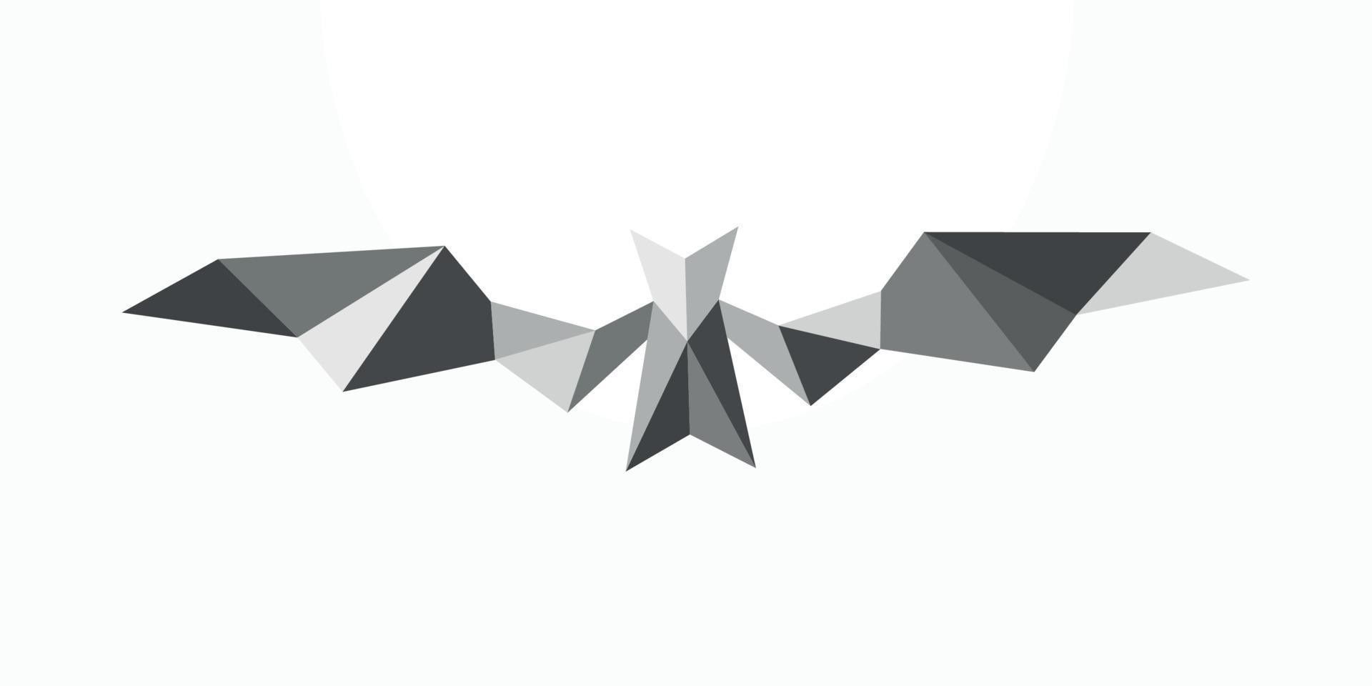 emblème abstrait polygonale de chauve-souris. illustration de chauve-souris de vecteur géométrique isolée sur fond blanc.