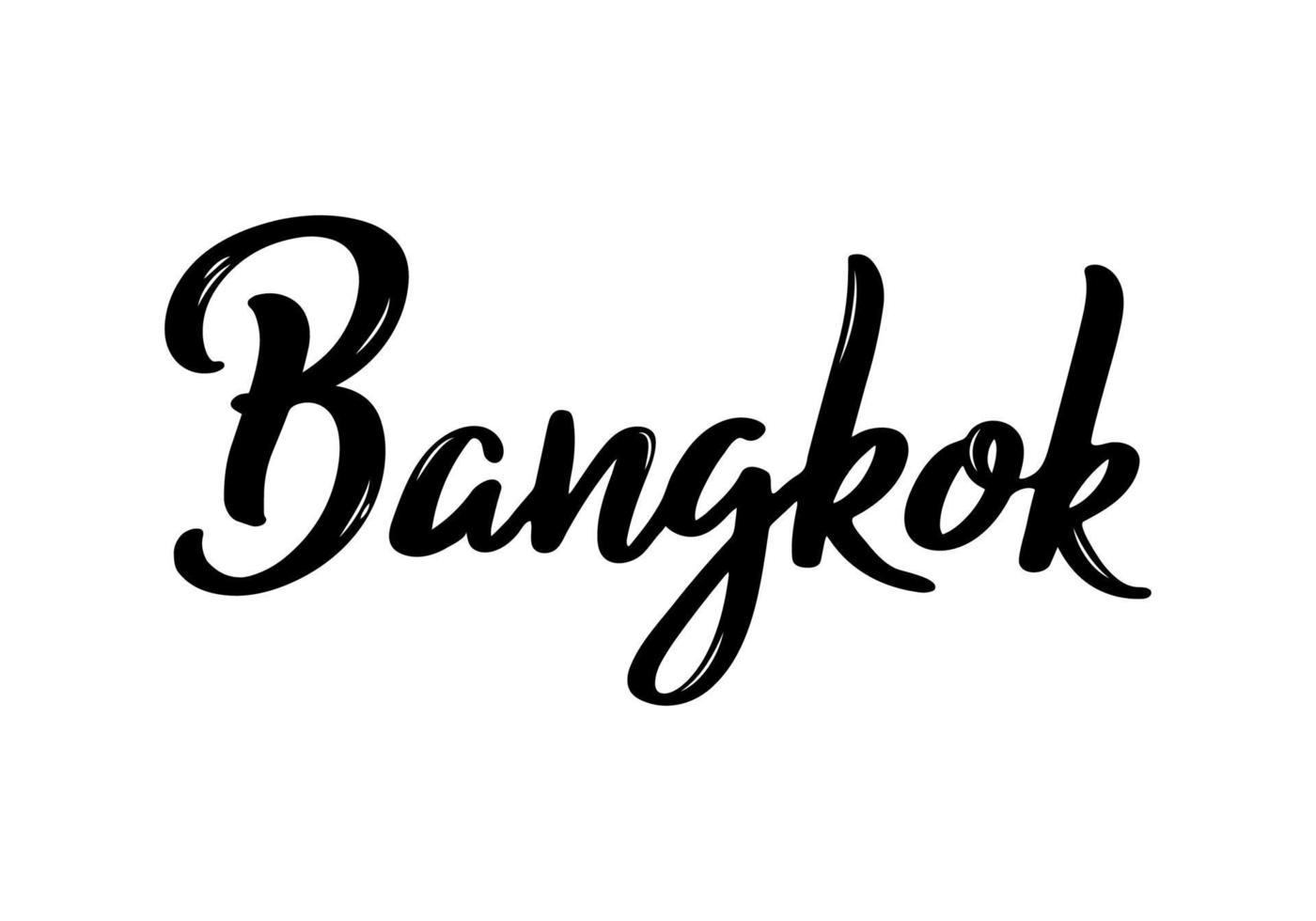calligraphie manuscrite de Bangkok. calligraphie au pinceau dessiné à la main. conception de lettrage de ville. vecteur