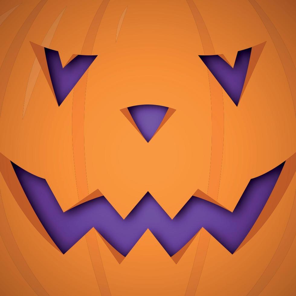 fond de citrouille d'halloween de vecteur. conception de visage effrayant de citrouille pour halloween. vecteur