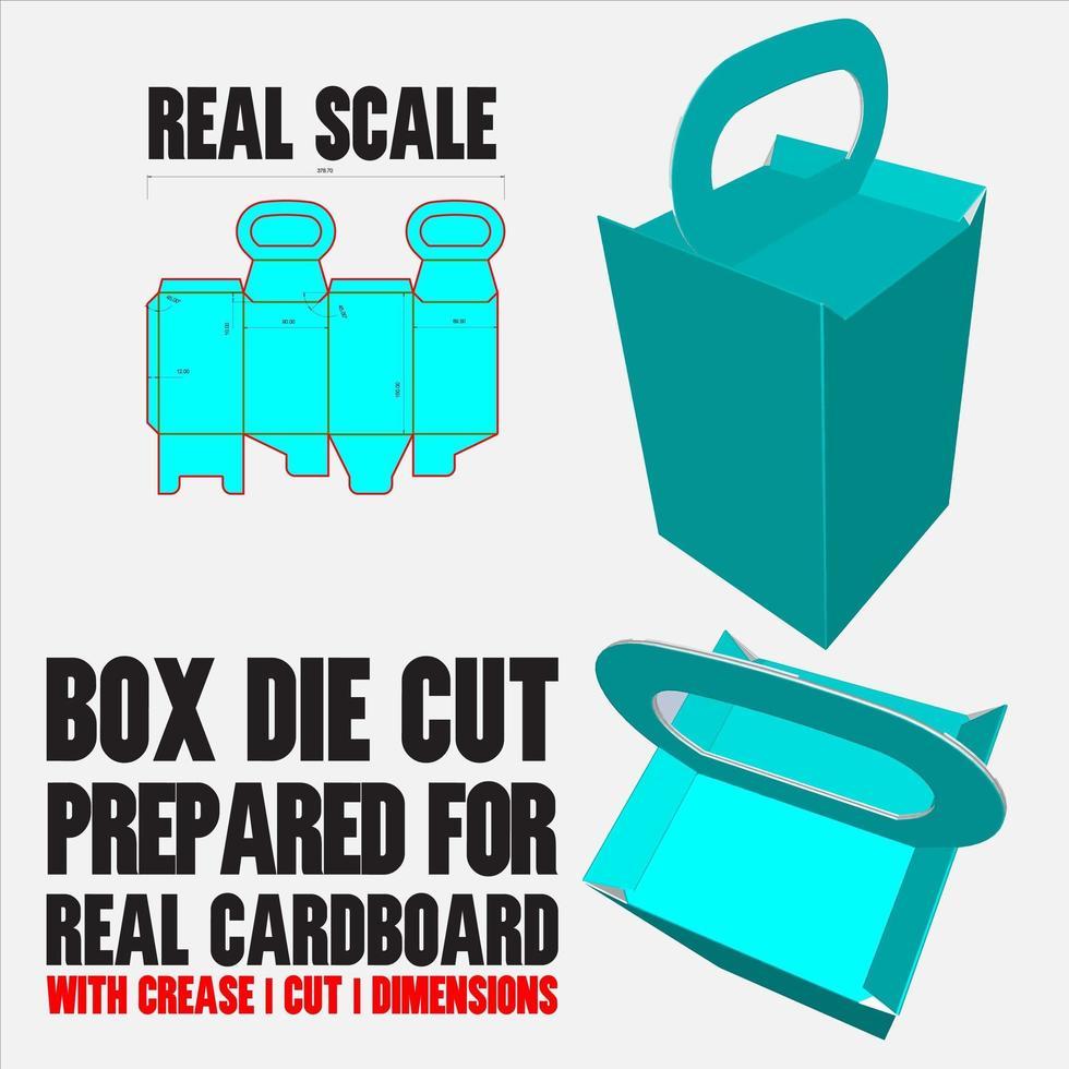 modèle de découpe de conteneur avec aperçu 3D organisé avec coupe, pli, modèle et dimensions prêts à être découpés et imprimés, à grande échelle et entièrement fonctionnel préparé pour du vrai carton vecteur