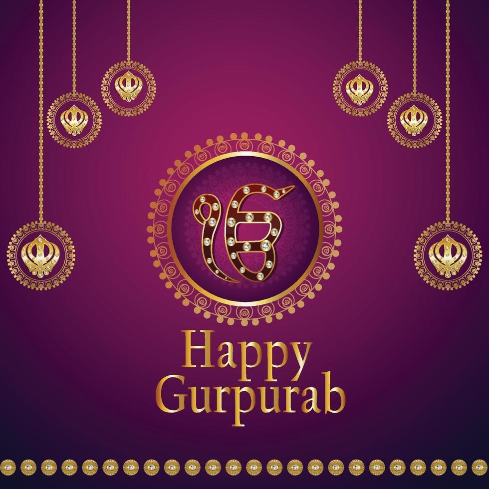 joyeux gourou gobind singh jayanti avec symbole sikh ek kom kar vecteur