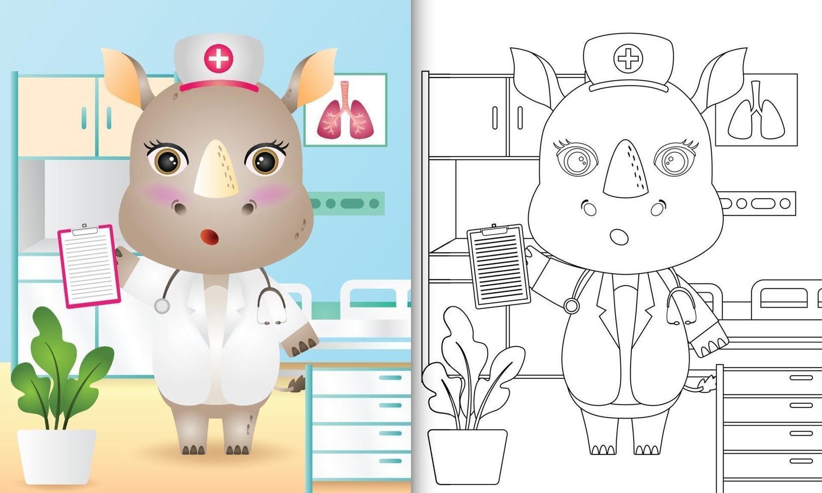 livre de coloriage pour les enfants avec une illustration de personnage mignon infirmière rhinocéros vecteur