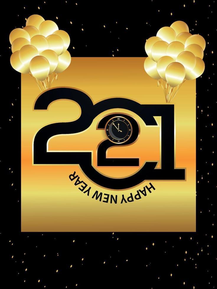 bonne année 2021 horloge et ballons vecteur