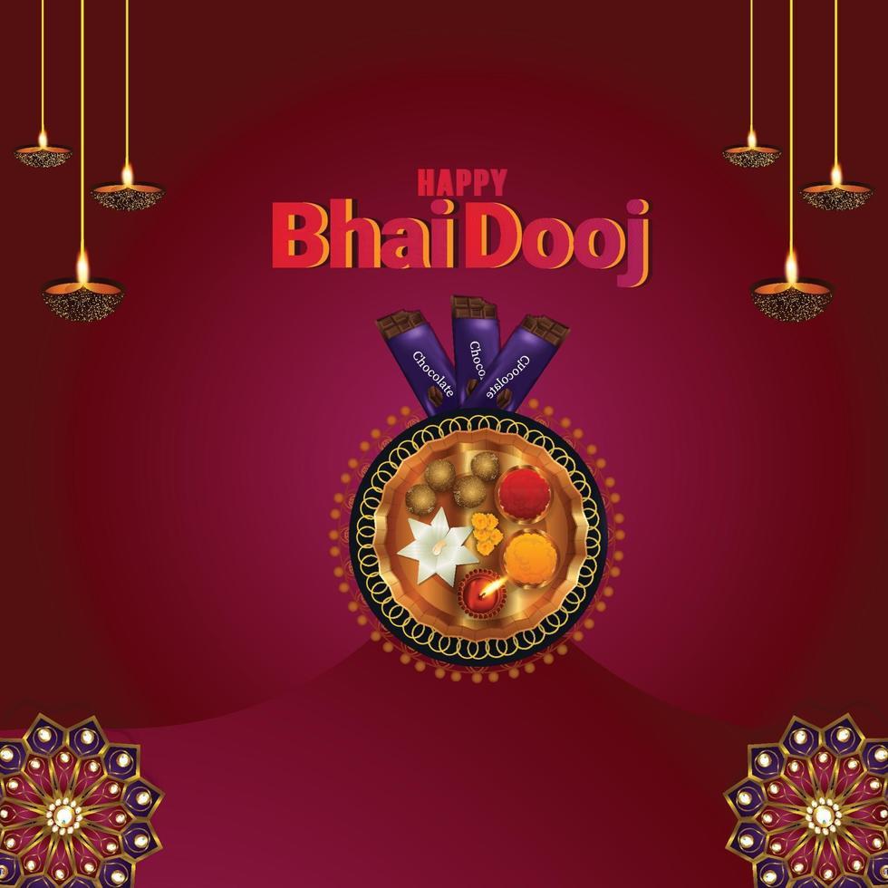 happy bhai dooj illustration créative et puja thali vecteur