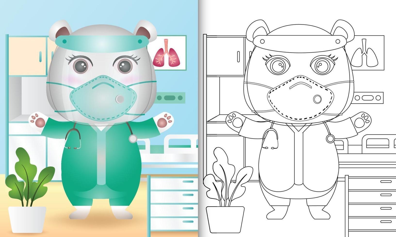 livre de coloriage pour les enfants avec une illustration de personnage mignon ours polaire vecteur