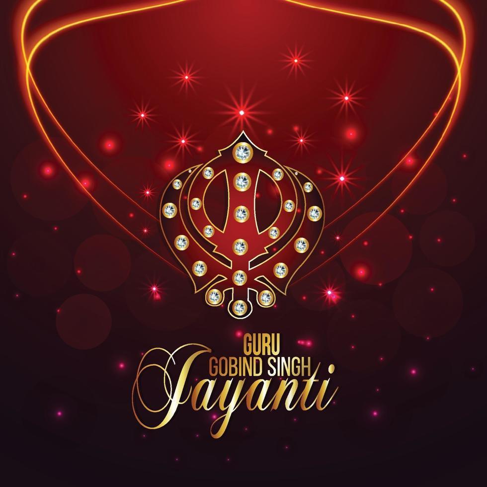 festival sikh, joyeux gourou gobind carte singh jayanti vecteur