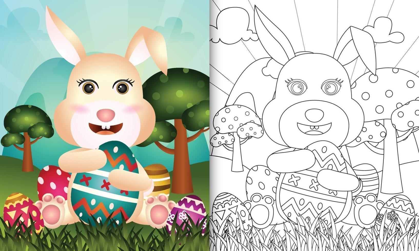 livre de coloriage pour les enfants sur le thème joyeuses pâques avec illustration de personnage vecteur