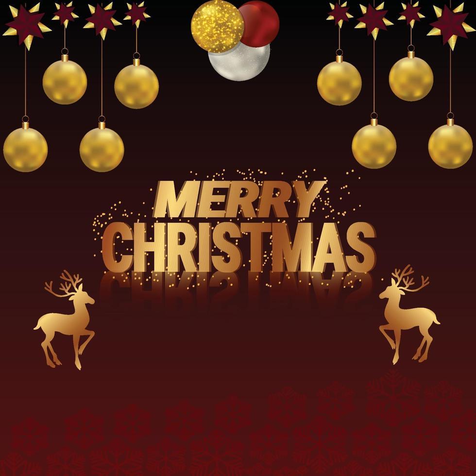 conception de carte de voeux de Noël avec lettrage doré et renne vecteur