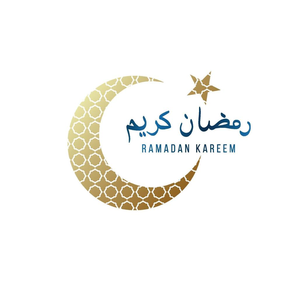 modèle de conception lumineuse pour ramadan kareem avec croissant d'or, étoile et lettrage. illustration vectorielle. traduction de texte - ramadan kareem. vecteur