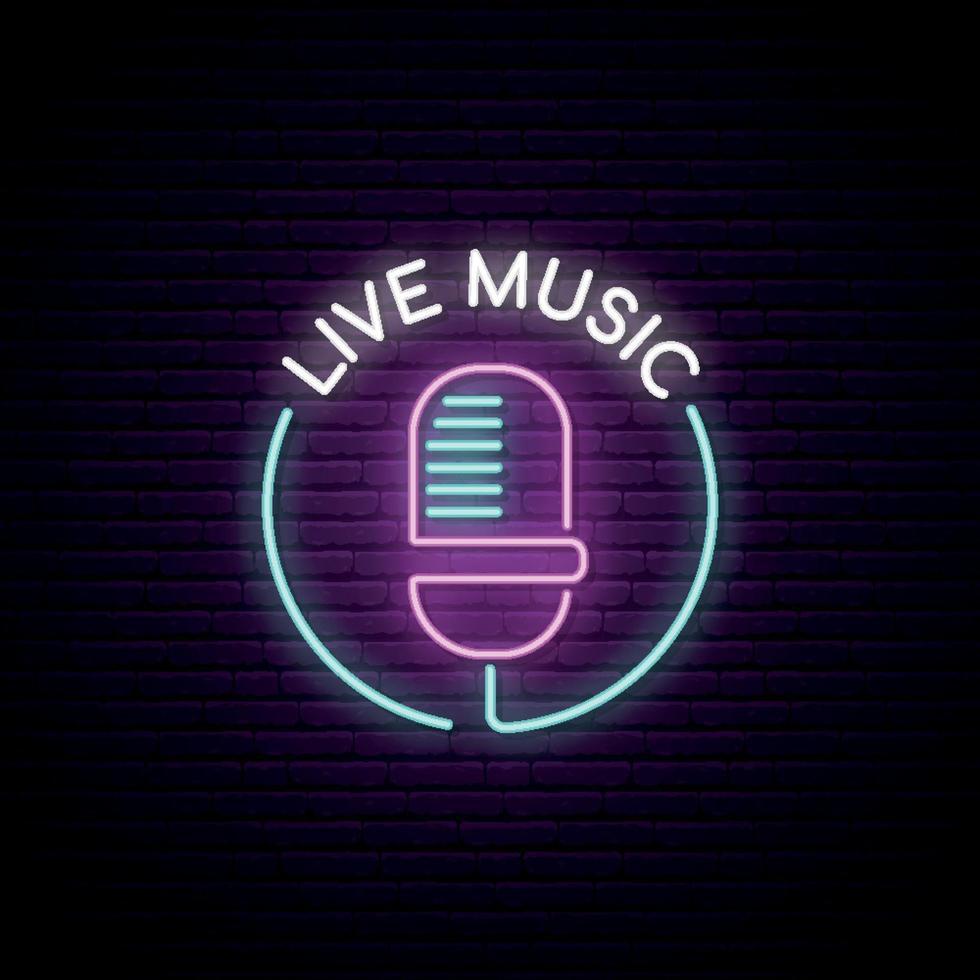 enseigne au néon de microphone. emblème lumineux de musique live. micro léger sur le fond de mur de brique. vecteur