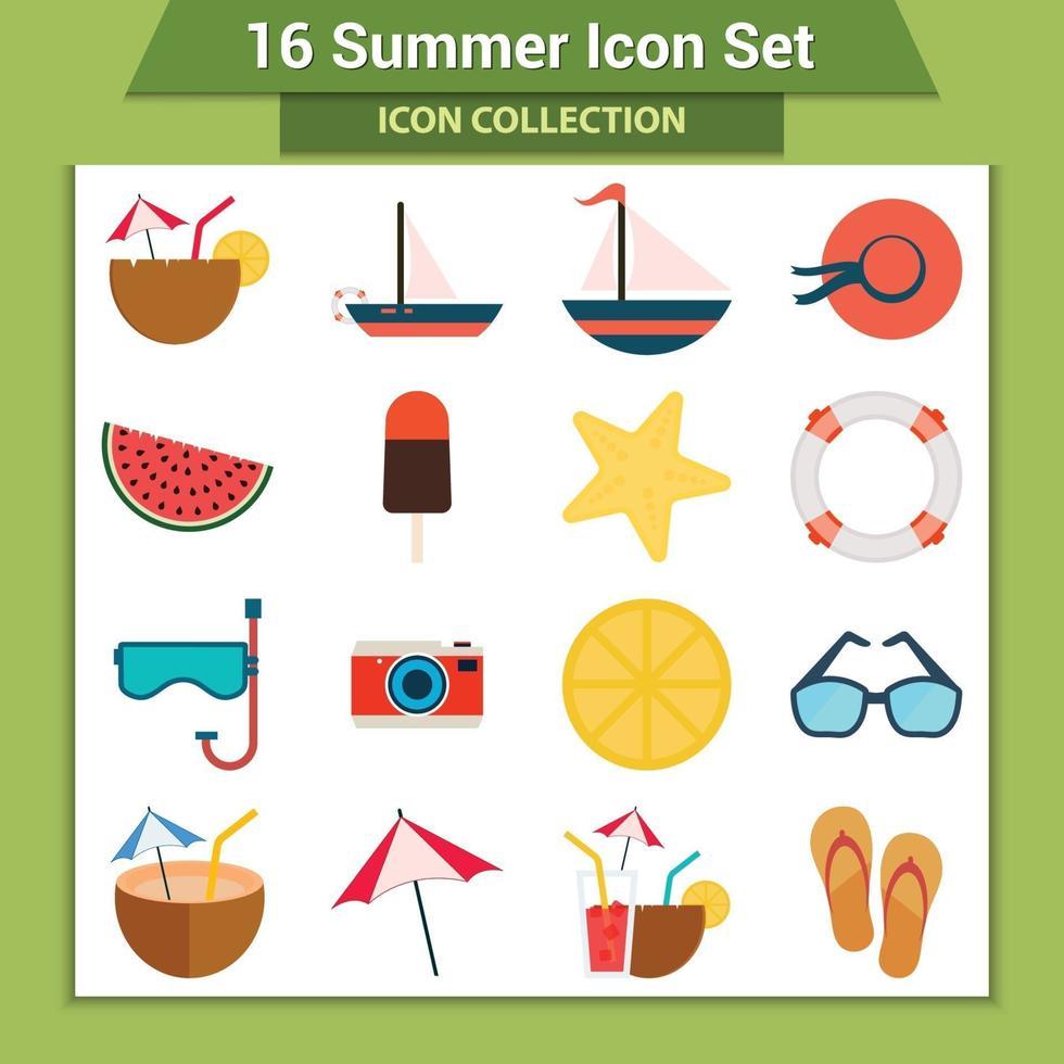 jeu d'icônes de vacances d'été vecteur