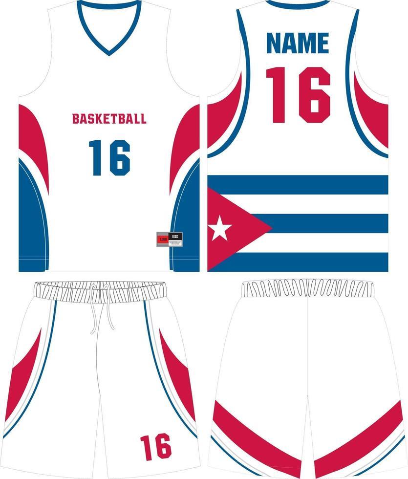 kit d'uniformes de basket-ball design personnalisé vecteur