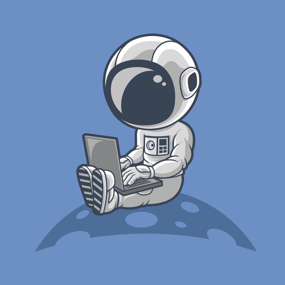 les astronautes travaillent sur un ordinateur portable. vecteur