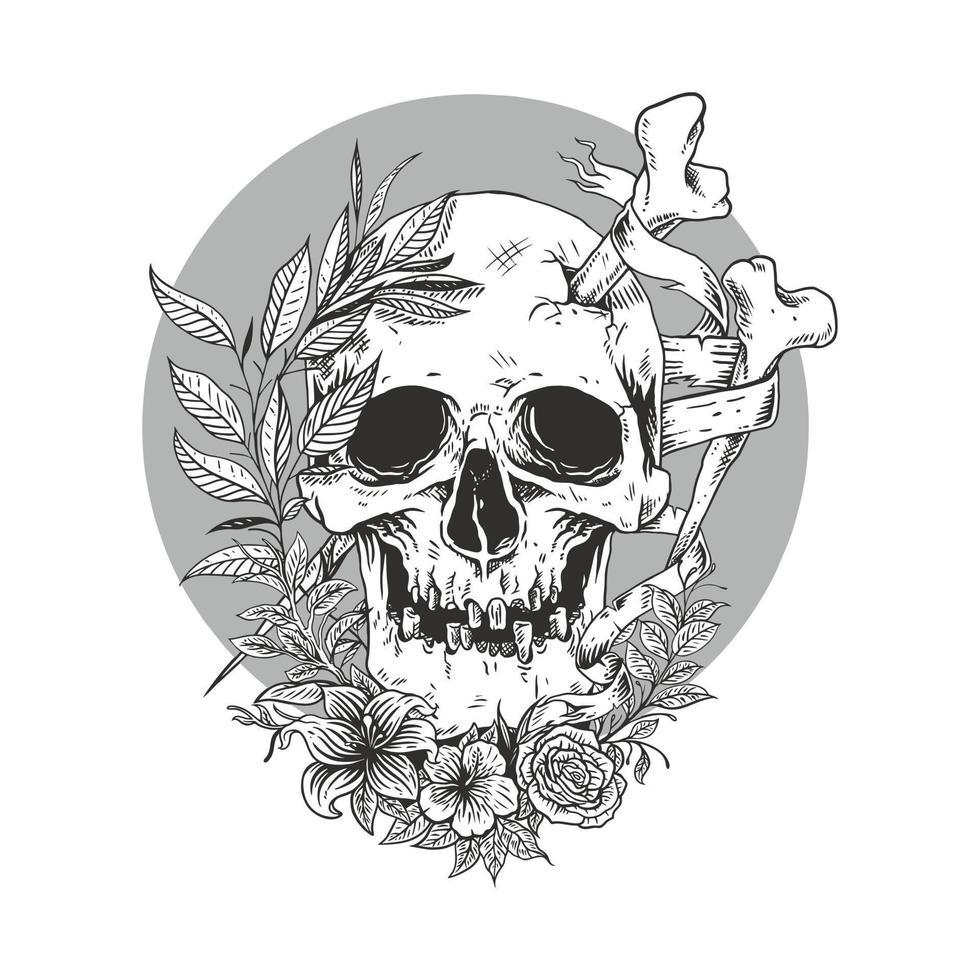 croquis de ligne de crâne avec vecteur flower.premium