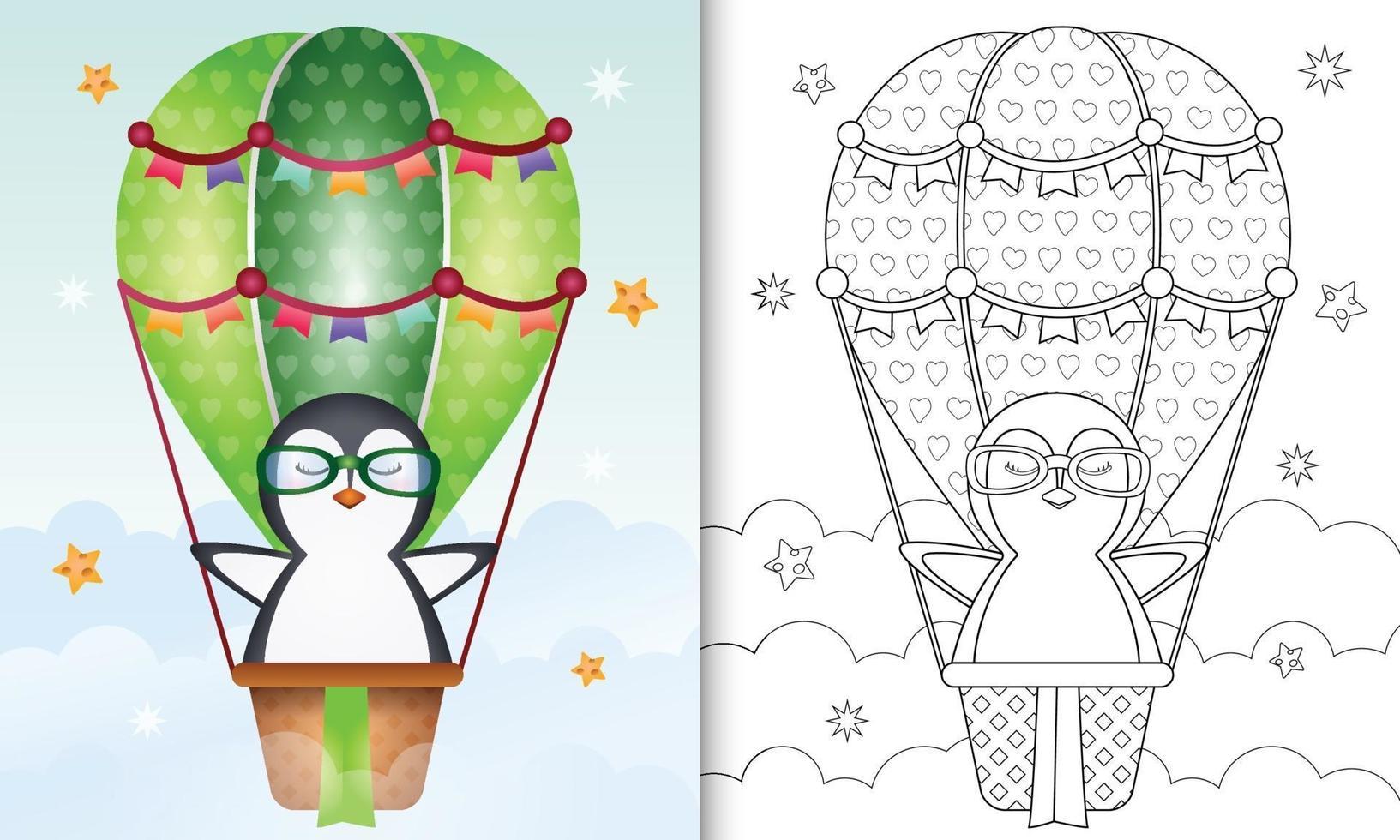 livre de coloriage pour les enfants avec un pingouin mignon sur ballon à air chaud vecteur