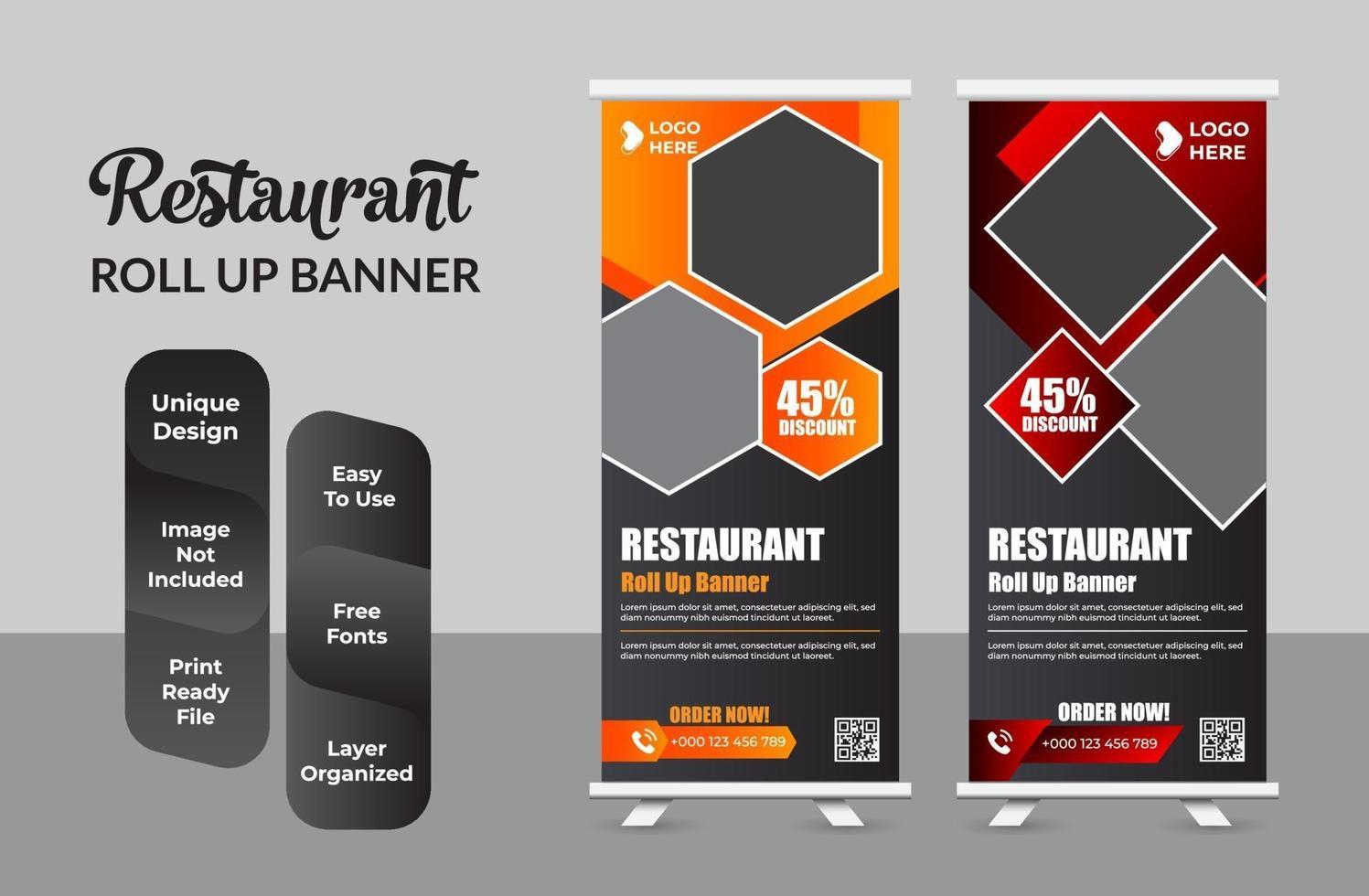 ensemble de modèles de bundle de bannière roll-up food restaurant créatif vecteur