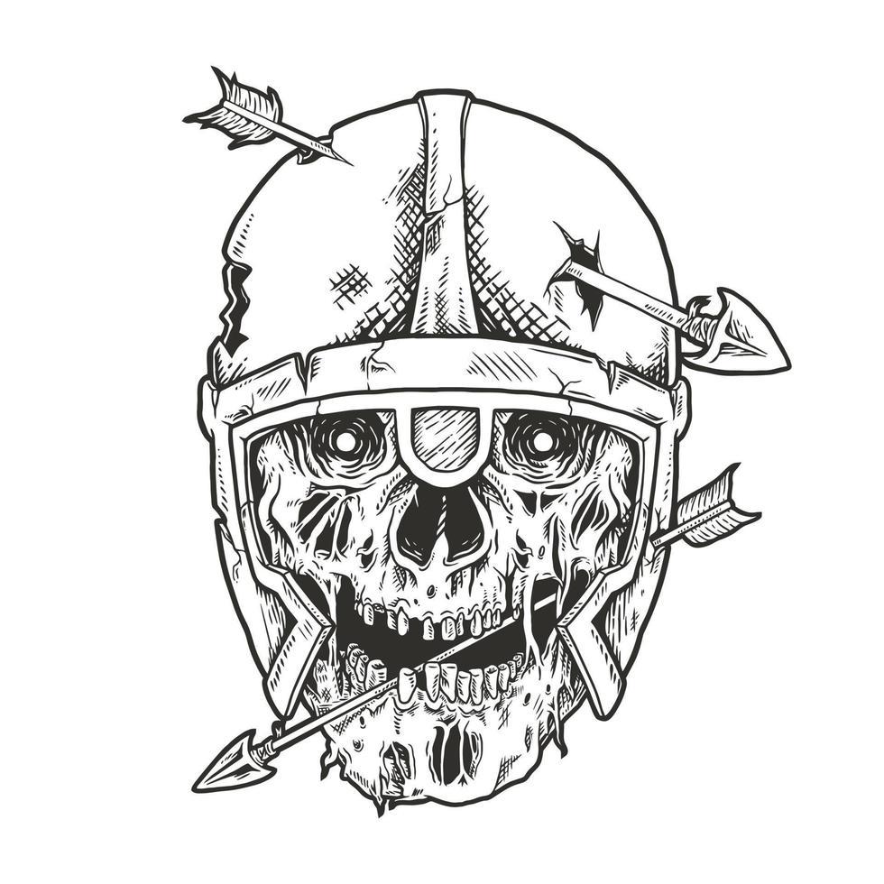crâne de viking percé de vecteur arrow.premium