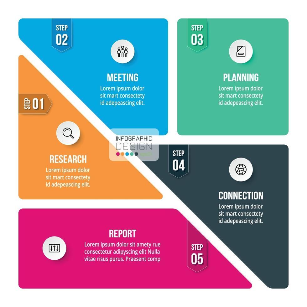 Segmentation en 5 étapes. peut être appliqué aux présentations, à la division fonctionnelle, à la réalisation de brochures ou au marketing. vecteur