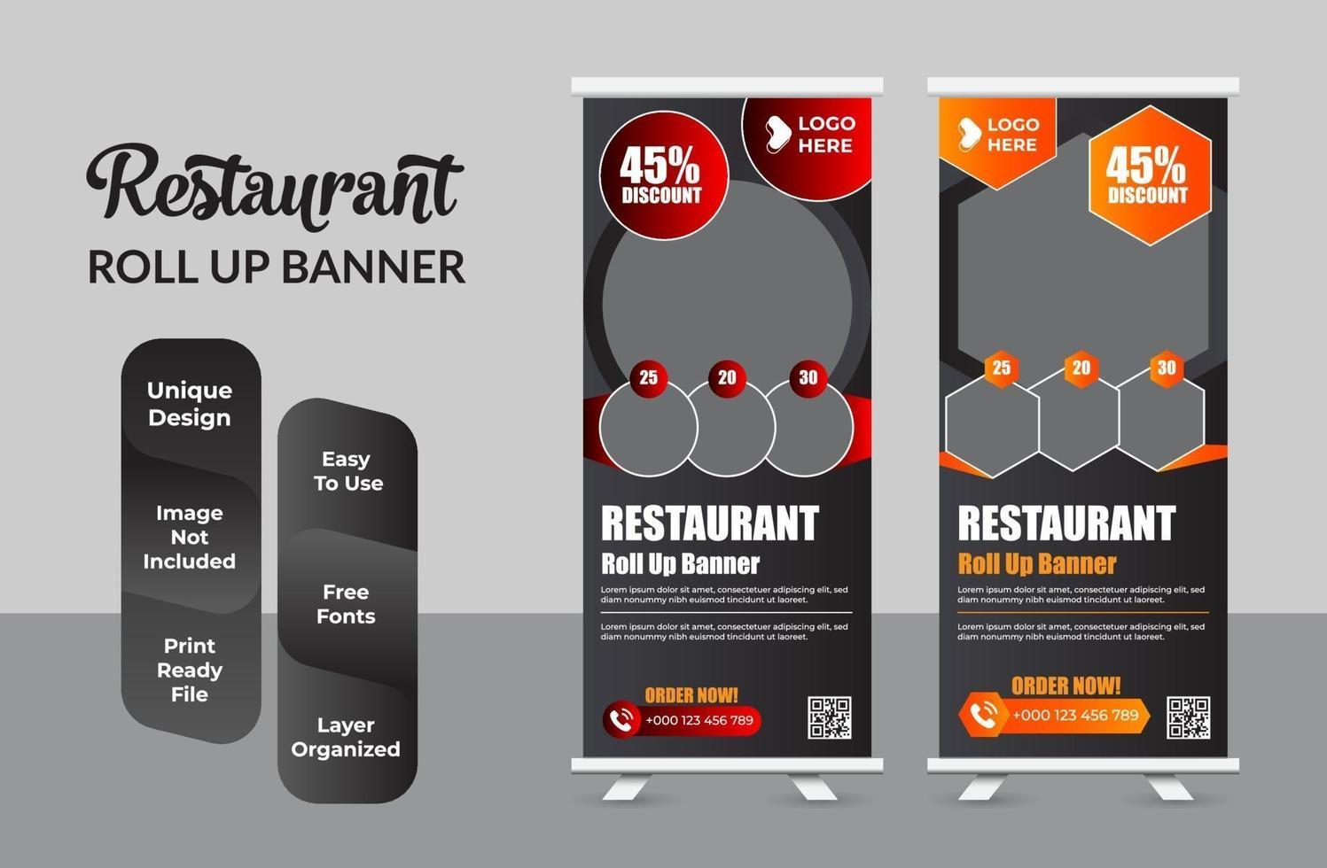 entreprise de restaurant retrousser ensemble de conception de modèle de bannière vecteur