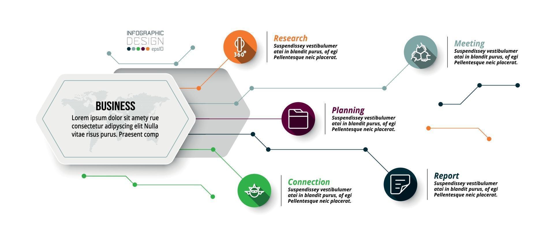 infographie de conception hexagonale. décrit la structure du travail et rend compte du processus de travail sous forme de diagramme. vecteur