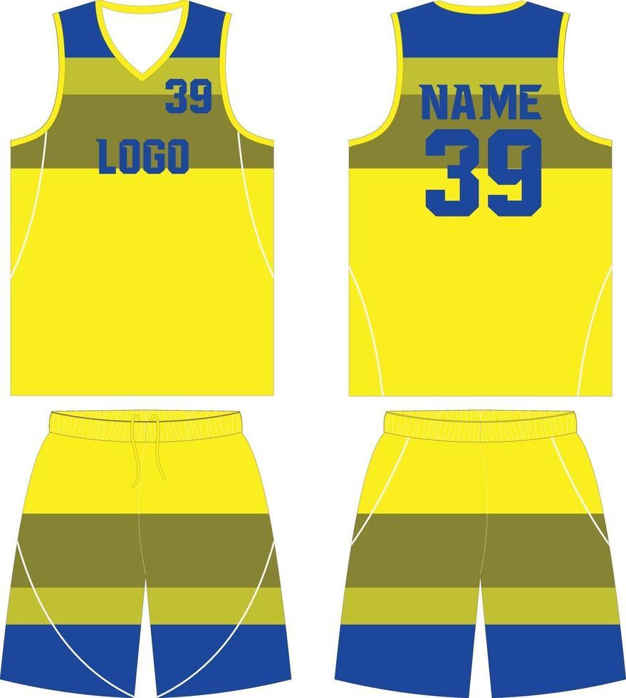 modèles de maquettes de conception personnalisée uniformes de basket-ball vecteur