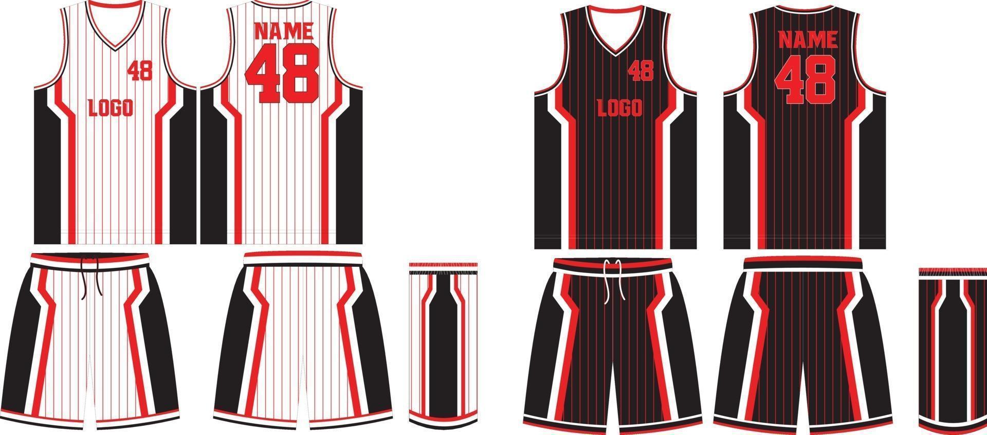 maillot et short d'uniforme de basket-ball réversible vecteur