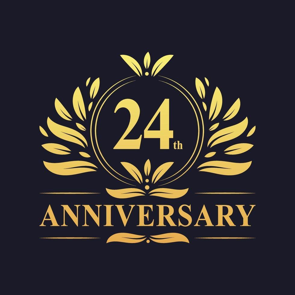 Conception du 24e anniversaire, logo d'anniversaire de 24 ans de couleur dorée luxueuse vecteur