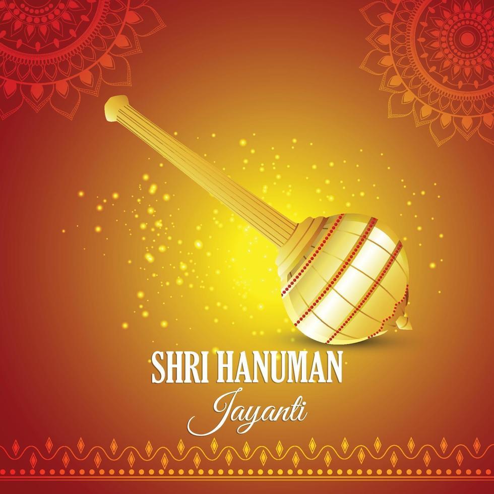 Fond de hanuman jayanti avec arme de seigneur hanuman vecteur