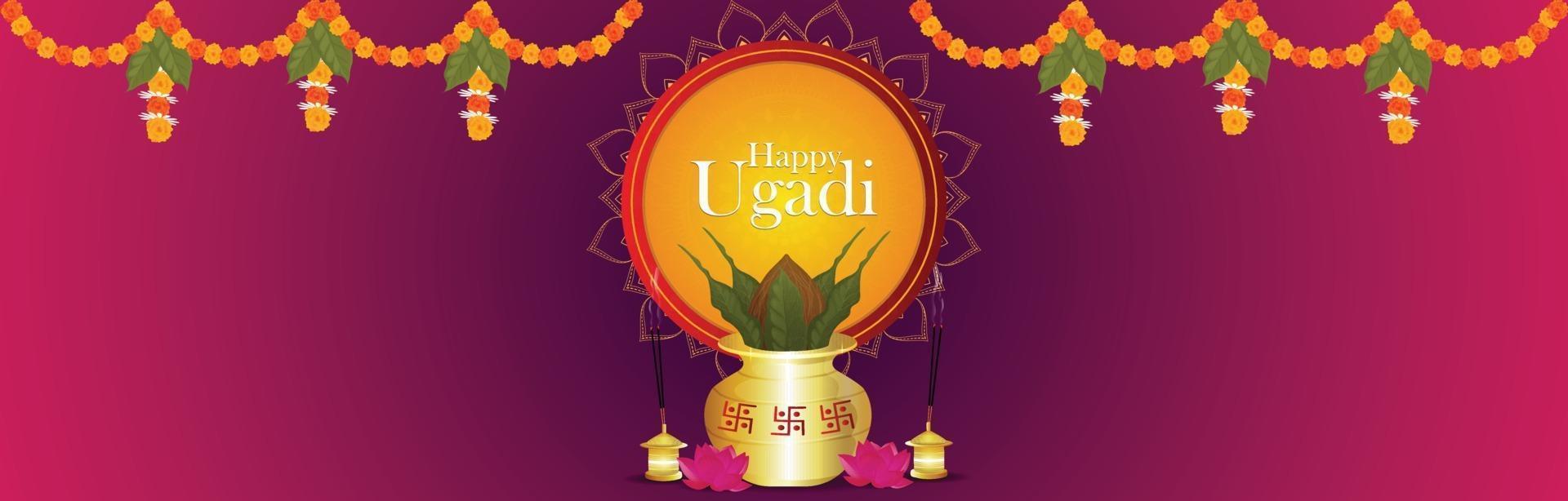 heureux ugadi. modèle de carte de voeux festival traditionnel vecteur