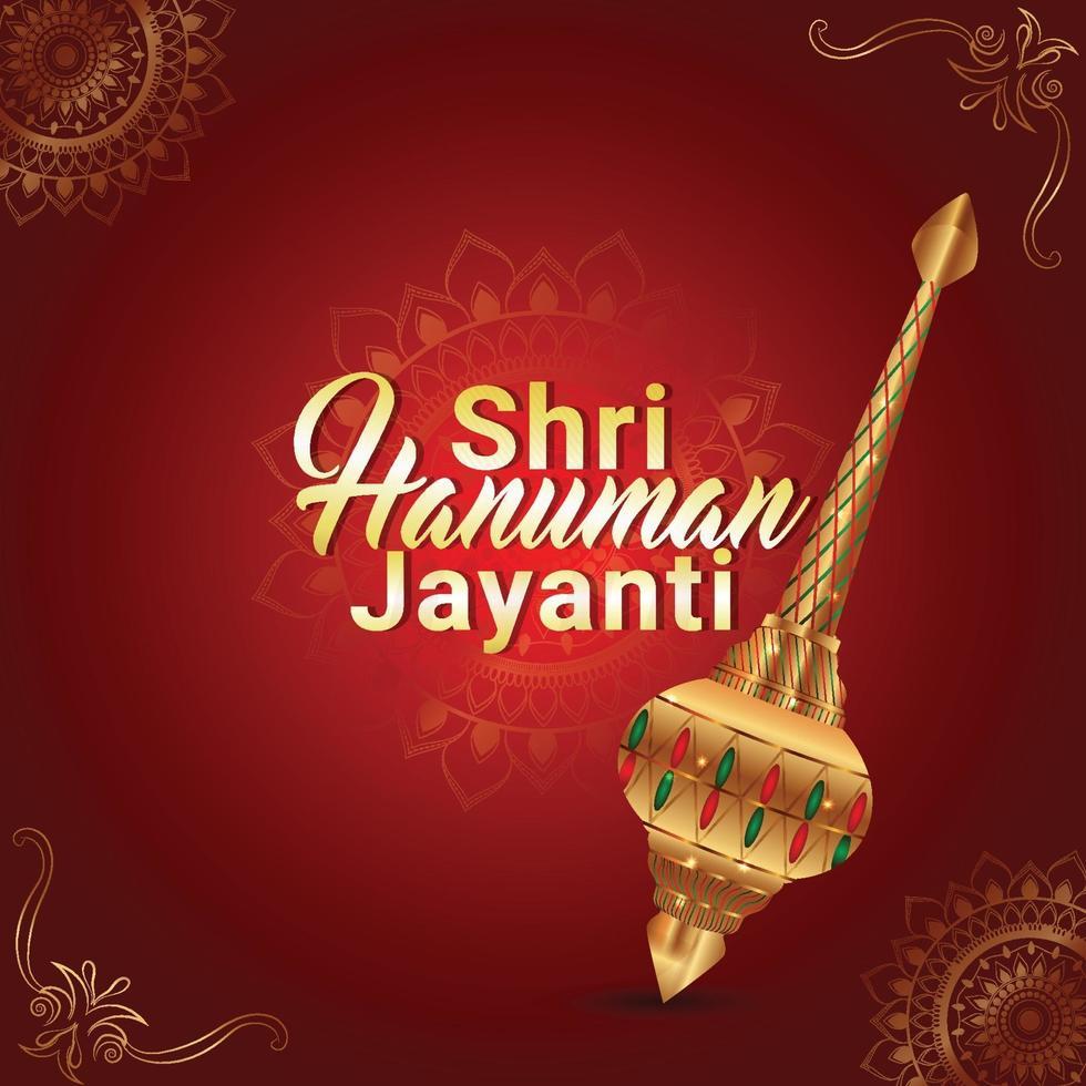 Carte de voeux de hanuman jayanti avec arme de hanuman vecteur
