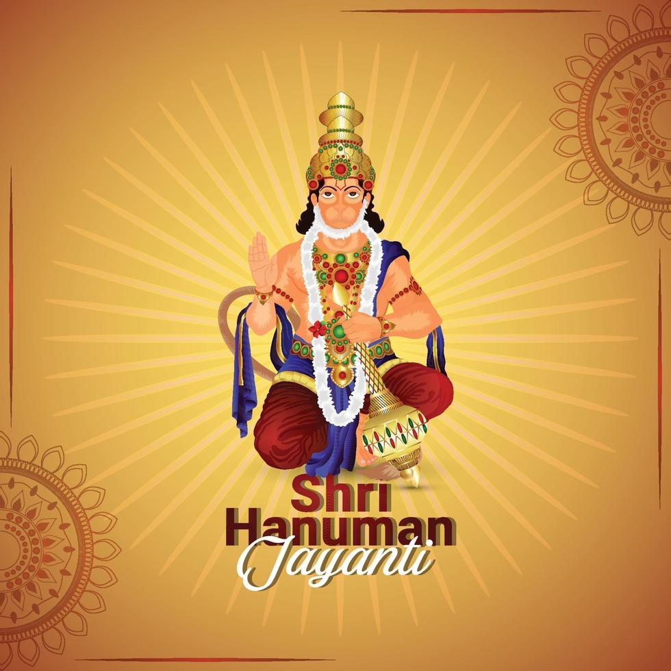 carte de voeux de célébration de hanuman jayanti vecteur