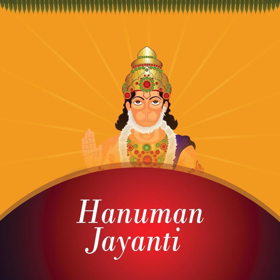Hanuman jayanti célébration carte de voeux et arrière-plan avec seigneur hanuman vecteur