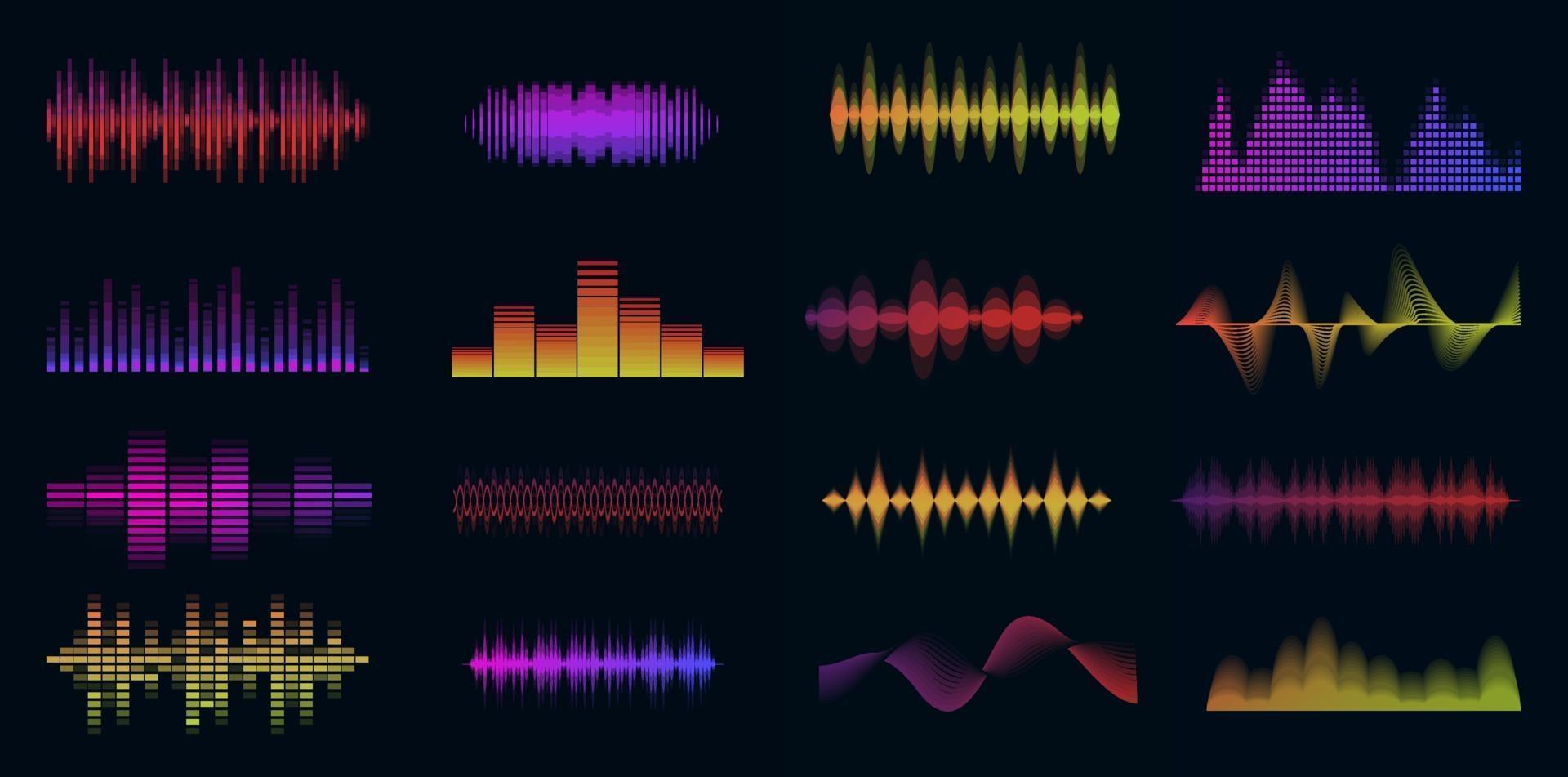 musique ondes sonores grand ensemble coloré. collection audio de musique. panneau de console. signal radio électronique. égaliseur. vecteur