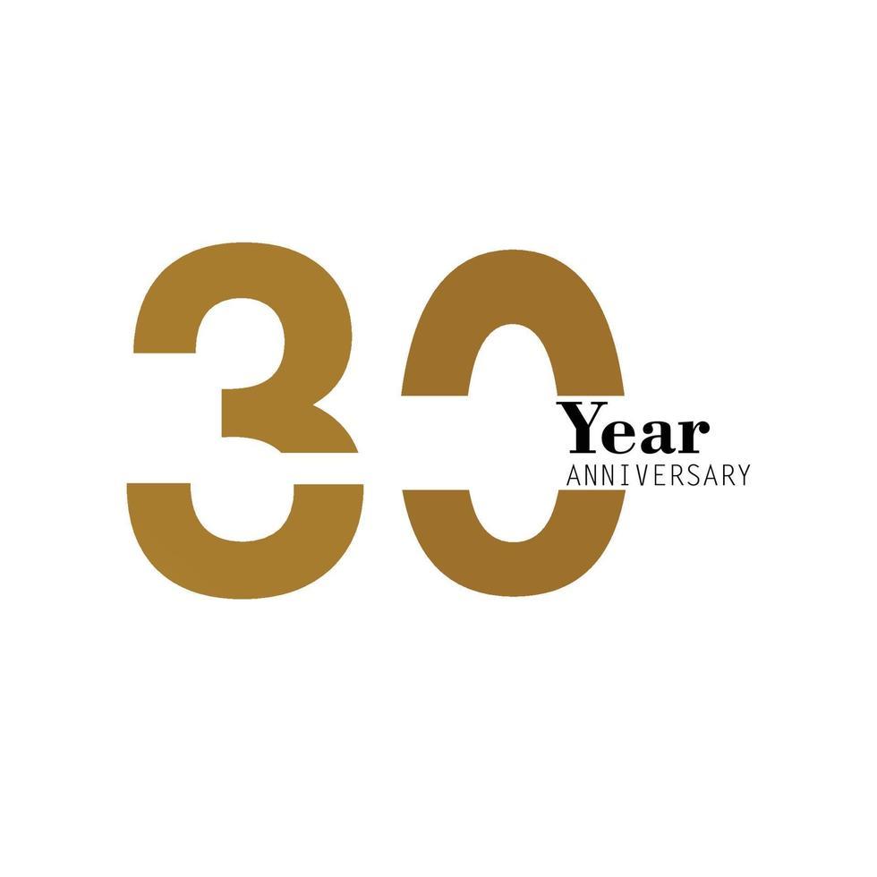 30 ans anniversaire logo vector modèle design illustration or et blanc