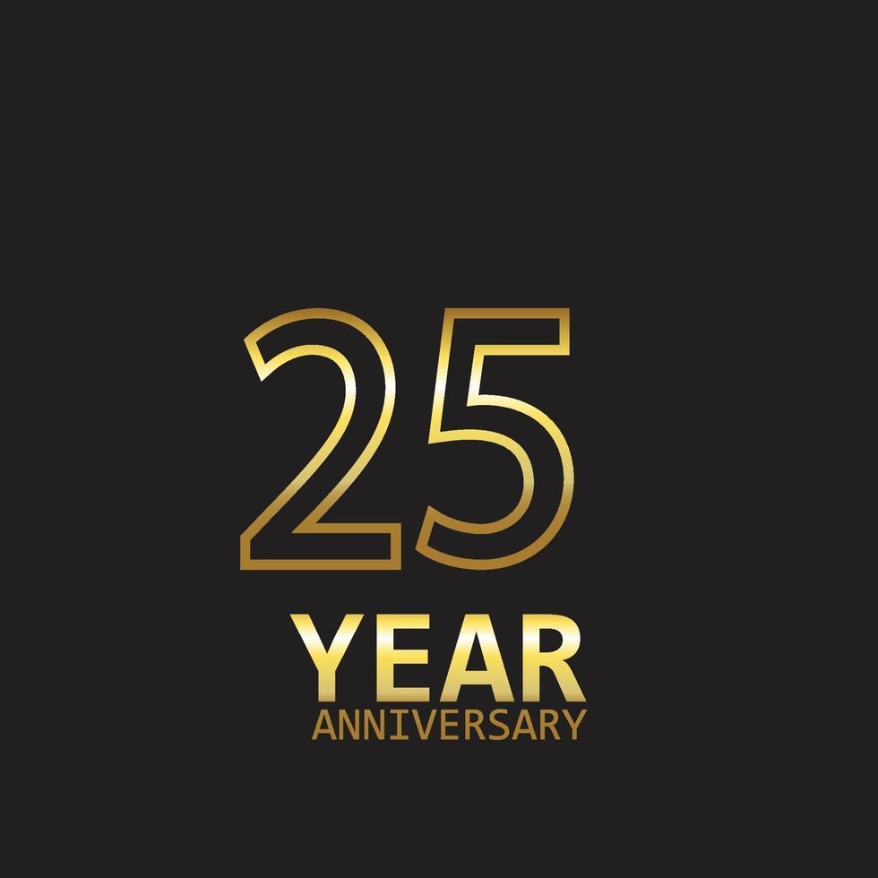 anniversaire logo vector illustration de conception de modèle or et noir