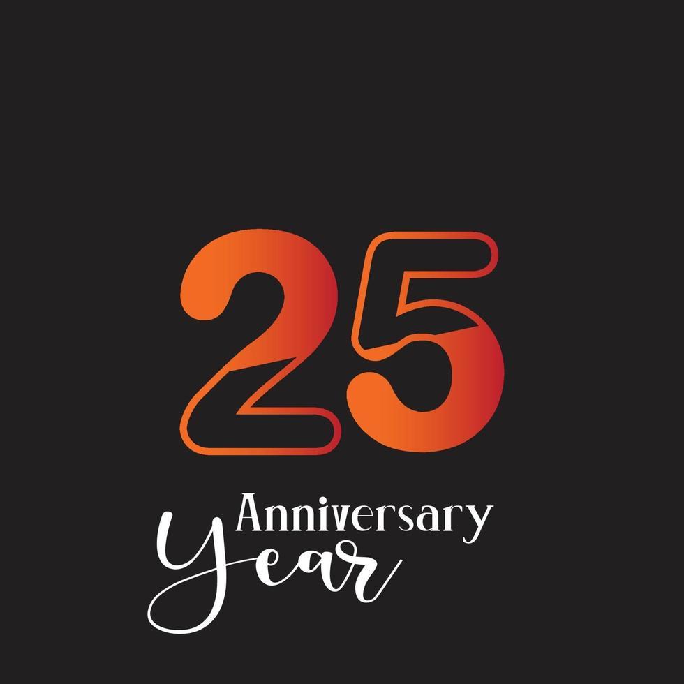 anniversaire logo vector illustration de conception de modèle orange et noir