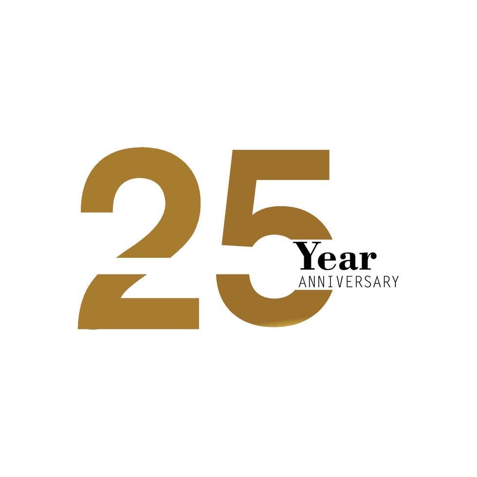 anniversaire logo vector illustration de conception de modèle or et blanc