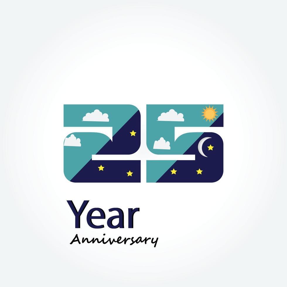 année anniversaire logo vector modèle illustration de conception bleu et blanc