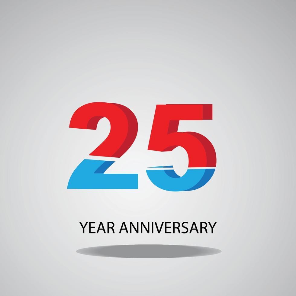 année anniversaire logo vecteur modèle illustration de conception rouge bleu et blanc