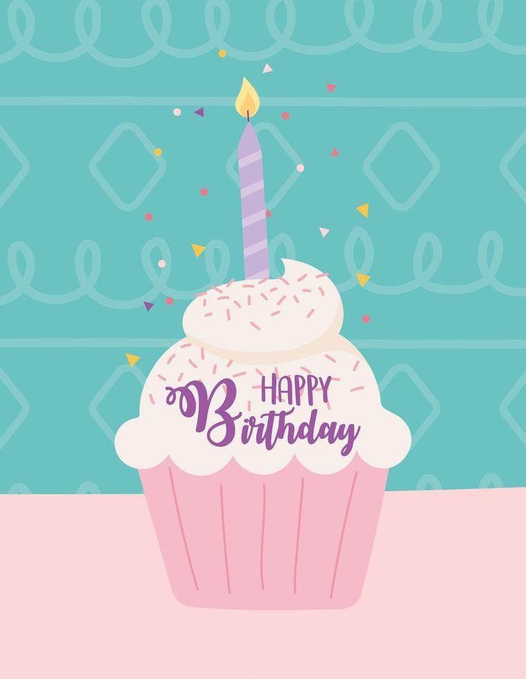 carte d'anniversaire colorée avec cupcake vecteur