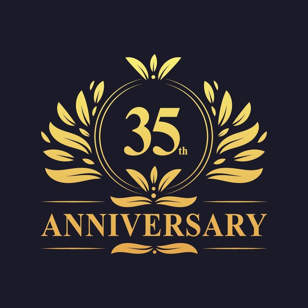 Conception du 35e anniversaire, logo d'anniversaire de 35 ans de couleur dorée luxueuse. vecteur