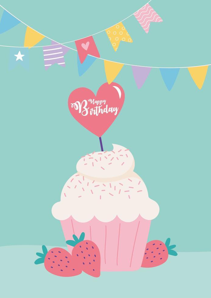 carte d'anniversaire colorée avec petit gâteau mignon vecteur